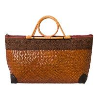 East Wicker Embroidered Bag Tan