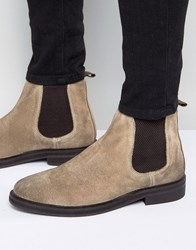 Asos Chelsea Boots In Stone Suede With Chunky Sole Beige