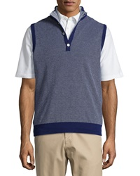 Bobby Jones Birdseye Textured Button Mock Vest Navy