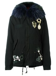 Mr And Mrs Italy Embroidered Mini Parka Black