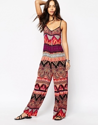 Band Of Gypsies Wide Leg Jumpsuit In Mixed Print Multi