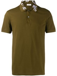 Alexander Mcqueen Embroidered Collar Polo Shirt Green