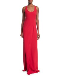 Ralph Lauren Collection Sleeveless Scoop Neck Silk Cady Column Gown Bright Red Girl's Size 6 G7 Bright Red