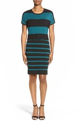 Women's Matty M Stripe Mock Two Piece Sweater Dress Teal