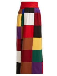 Sara Battaglia Colour Block Wrap Around Stretch Wool Skirt Multi