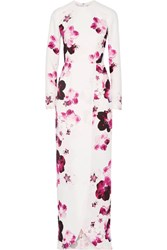 Elie Saab Wrap Effect Floral Print Crepe Gown White
