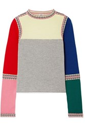Rosie Assoulin Color Block Wool Sweater Red