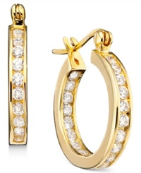 B. Brilliant 18K Gold Over Sterling Silver Cubic Zirconia Hoop Earrings 2 1 3 Ct. T.W.