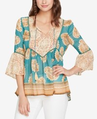 Vintage America Mixed Print Peasant Top Majestic Whispers