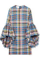 Marques' Almeida Janis Ruffled Frayed Plaid Poplin Mini Dress Light Blue