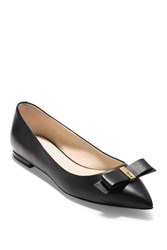 Cole Haan Elsie Leather Bow Skimmer Flat Black Leat