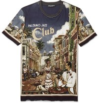 Dolce And Gabbana Slim Fit Printed Cotton Jersey T Shirt Blue
