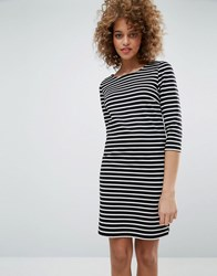Only Emma T Shirt Dress Black White Stripe Multi