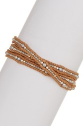 Chan Luu Sterling Silver Nuggets 3Mm Grey Freshwater Pearls And Indian Bead Wrap Bracelet Brown