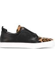 Pierre Hardy Leopard Print Slip On Sneakers Black