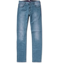 Isaia Slim Fit Selvedge Stretch Denim Jeans Blue