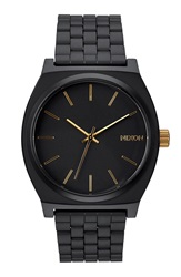Nixon 'The Time Teller' Stainless Steel Bracelet Watch 37Mm Matte Black Gold