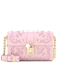 Dolce And Gabbana Embroidered Leather Crossbody Bag Pink