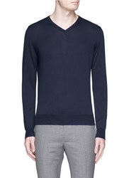 Canali Cotton V Neck Sweater Blue