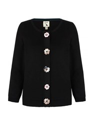 Yumi Cardigan With Floral Embellishments Black