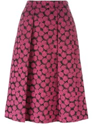 Michael Michael Kors Leaf Print A Line Skirt Pink And Purple
