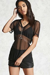 Forever 21 Cutout Sheer Mesh Tee Black