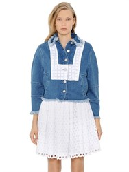 House Of Holland Embroidered And Raw Cut Denim Jacket
