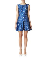 Erin Fetherston Floral Print Drop Waist Dress Blue Multi