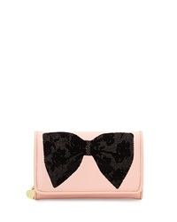 Betsey Johnson Flock A Bows Wallet On Chain Blush