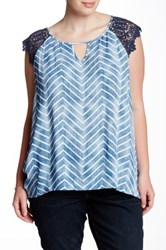 Stony Cap Sleeve Zig Zag Blouse Plus Size Multi