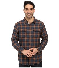 Columbia Hoyt Peak Long Sleeve Shirt Night Shadow Grid Men's Long Sleeve Button Up Brown