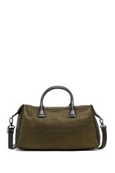 Christopher Kon Mini Weave Leather Crossbody Satchel Metallic