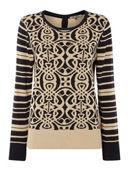 Biba Jaquard Logo And Stripe Button Back Jumper Black Gold