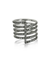 Bernard Delettrez Four Bands 9K White Gold Ring W Grey Diamonds Pave
