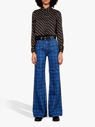 Gerard Darel Leelou Check Wide Leg Jeans Blue