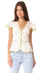 Marc Jacobs V Neck Flutter Sleeve Blouse White Multi