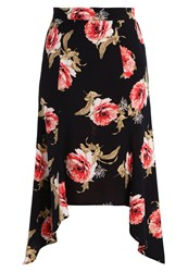 Miss Selfridge Floral Hanky Maxi Skirt Black