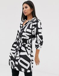 Dkny Longline Hooded Parka With All Over Logo Multi