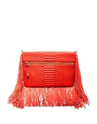 Brian Atwood Nepal Embossed Leather Bag Coral