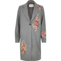 River Island Womens Grey Floral Embroidered Overcoat