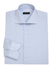 Saks Fifth Avenue Collection Classic Stripe Dress Shirt Blue White