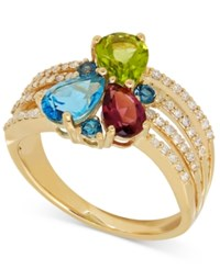 Macy's Multi Gemstone 2 Ct. T.W. And Diamond 1 4 Ct. T.W. Ring In 14K Gold Yellow Gold