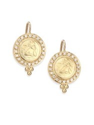 Temple St. Clair Angels Pave Diamond And 18K Yellow Gold Drop Earrings