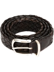 Eleventy Woven Buckle Belt Brown