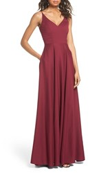 Hayley Paige Occasions Cutout Crepe A Line Gown Burgundy
