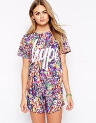 Hype Oversized Boyfriend T Shirt In Multicolour Festival Print With Front Logo Co Ord
