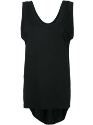 Bassike Scoop Neck Tail Tank Top Women Cotton M Black