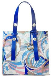 Emilio Pucci Woman Leather Trimmed Printed Twill Tote Royal Blue