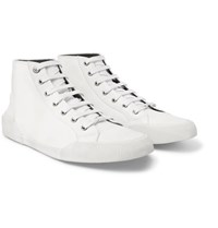 Lanvin Distressed Cotton Canvas High Top Sneakers Off White