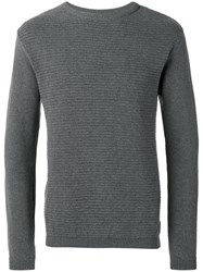 Oliver Spencer Ripple Stitch Crew Neck Jumper Grey